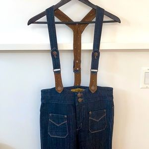 Dittos High-Rise Wide Leg Jeans with Suspenders